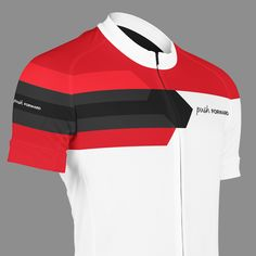 Push FORWARD Red & White. Short sleeved summer cycling jersey, made from functional materials for a comfortable ride. Designed in Sweden. Push yourself. Push your limits. Push Cycling Apparel.