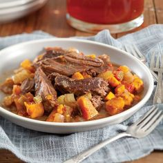 Let this pot roast cook on Sunday afternoon and enjoy leftovers during the week.