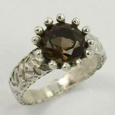 FREE SHIPPING ! Natural SMOKY QUARTZ Gems 925 Sterling Silver Ring Size US 7.75 #Unbranded #Statement Smoky Quartz Ring, Silver Jewellery Indian, Handmade Silver, Handmade Art, Sterling Silver Jewelry, Vintage Jewelry, Gemstones, Natural, Free Shipping