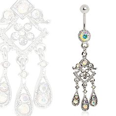 316L Surgical Steel Oriental Chandelier Dangle Navel Ring