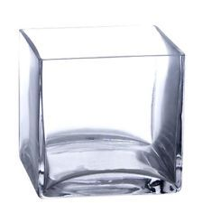 "Bulk 12 Pieces 5"" Clear Glass Square Vases"