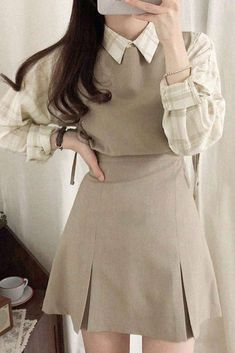 Casual Fall Outfits, Stylish Outfits, Cute Outfits, Girl Outfits, Outfit Winter, Korean Girl Fashion, Little Girl Fashion, Skirt Fashion, Fashion Dresses