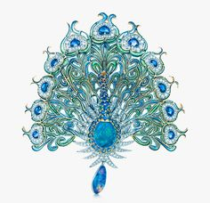 Tiffany peacock brooch with diamonds, sapphires, emeralds and black opals was inspired by a design from the Tiffany Archives.