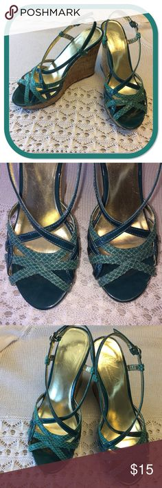 Charles by Charles David Wedges Strapy wedges with a 4.5 inch heel.  Beautiful teal color with a snake skin pattern.  These are comfortable and in great condition.  I just don't wear them as often as I'd like and they are a bit high for me.  Hoping to find someone to love these as much as I did! Charles David Shoes Wedges
