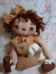Raggedy Doll  Ms Kitty with her KittyKat by Allisbright on Etsy, $40.00