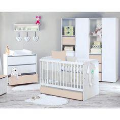 Babyzimmer 5-tlg. DALIA Beige mit 3 türigem Kleiderschrank & Bettkasten Baby Möbel Babyzimmer
