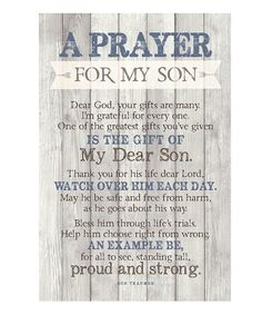 Prayer quotes: Dexsa Prayer For My Son New Horizons Wood Plaque with Easel Prayer For My Son, Prayer For My Children, Family Prayer, Prayers For New Baby, To My Son, Parents Prayer, Parents Poem, Special Prayers, Prayer Board