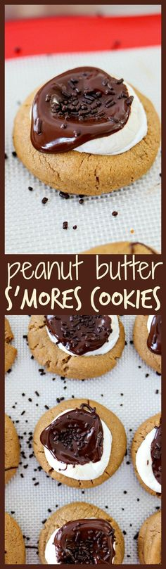 Peanut Butter Smores Cookies - A dense, chewy peanut butter cookie topped with a large marshmallow and drizzled with melted chocolate. It's a fun, new way to get your s'mores fix! Smores Cookies, Chocolate Chip Cookies, Chewy Peanut Butter Cookies, Melted Chocolate, Chocolate Treats, Best Cookie Recipes, Best Dessert Recipes, Baking Recipes, Top Recipes