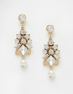 Image 1 ofNali Crystal And Pearl Statement Earrings