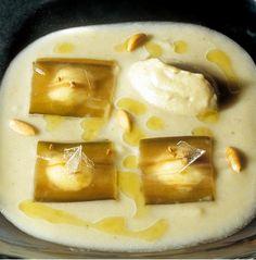 417 |   sopa de berenjena con raviolis de berenjena y yogur al caramelo balsámico (El Bulli, 1997, tapa)