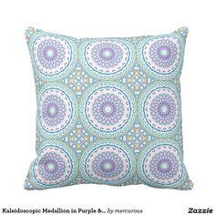42ba4723f02 Kaleidoscopic Medallion in Purple   Blue on White Purple Throw Pillows