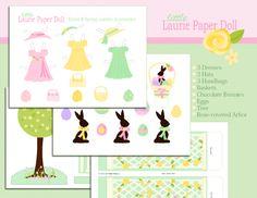 une adorable paper doll et des embellissements sur le thème de Pâques pour vos créations...