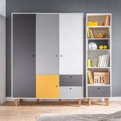 Vox Concept 3 Door Wardrobe in Grey & Yellow – Furniture Ideas Wardrobe Door Designs, Wardrobe Design Bedroom, Wardrobe Doors, Kids Wardrobe, Wardrobe Laminate Design, White Wardrobe, Kids Bedroom Furniture, Home Furniture, Furniture Design