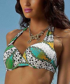 Look at this #zulilyfind! Orange & Yellow Love Stones Halter Bikini Top #zulilyfinds