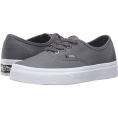 Vans Authentic ((Multi Eyelets) Perf/Gray) Skate Shoes ($31) ❤ liked on Polyvore featuring shoes, sneakers, grey, leather upper shoes, grey leather sneakers, leather shoes, leather trainers and vans shoes