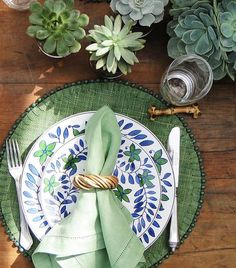 green, blue and succulents