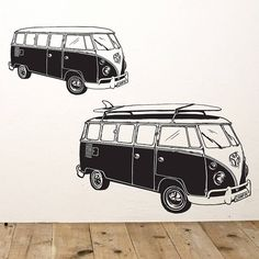 Surf Style Camper Van Wall Sticker by Oakdene Designs, the perfect gift for Explore more unique gifts in our curated marketplace. Vw T, Volkswagen Bus, Campervan Tattoo, Contemporary Wall Stickers, Shark Bedroom, Boys Wall Stickers, Van Wall, Nautical Design, Summer Feeling