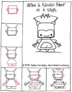Draw a cute kawaii robot step by step