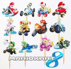 Items similar to 12 Mario Kart 8 Themed Birthday Party Cupcake Cake Toppers on Etsy Joint Birthday Parties, Birthday Party Themes, Boy Birthday, Birthday Ideas, Birthday Cake, Mario Kart 8, Mario And Luigi, Mario Bros, Nintendo Party