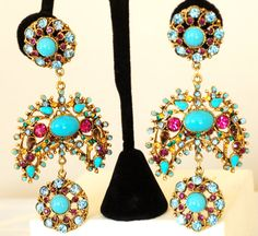 Rhinestone Earrings Couture Huge by EmbellishgirlVintage on Etsy, $450.00