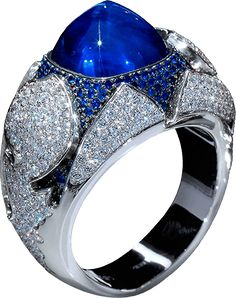 1001 Nights - 750 white gold, sapphire 10.31 ct., 0.88 cts. of sapphires and diamonds 1.73 cts/