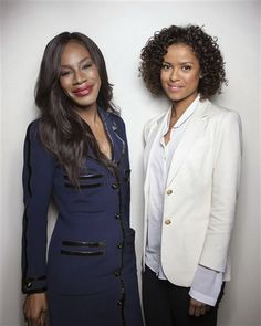 """Director Amma Asante, left, and actress Gugu Mbatah-Raw pose for a portrait in promotion of their upcoming film, """"Belle,"""" in New York"""