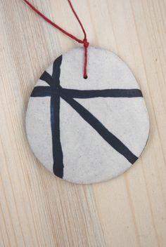 Ceramic pendant black lines by NuriNegreCeramics on Etsy, €17.50