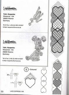 Geraldine Stott & Bridget M. Bobbin Lace Patterns, Lacemaking, Lace Heart, Bookmarks, My Favorite Things, Arizona, Tear, February 2015, Bracelets