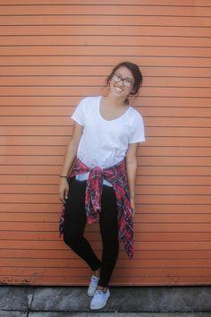 Fashion outfit plaid shirt around waist