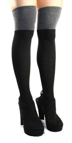 AM Landen Ladies Two Tone Cotton Over Knee/Thigh-High Socks(Black/Gray) AM Landen http://www.amazon.com/dp/B006KH0ODK/ref=cm_sw_r_pi_dp_o5cuub0G5572N
