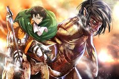 i just love Eren's hair here, ok? haha alright, and Levi's whole 'i couldn't give less of a crap that I'm zooming around beside a hormone-raging 15 meter man-eating monster', yeah, that's sweet too.   Attack on Titan Shingeki no Kyojin Levi Rivaille Eren Titan Form Anme Sword Blade HD Wallpaper Desktop Background