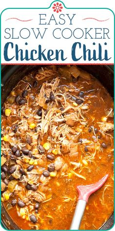This easy White Chicken Chili is like a milder, calmer cousin to Texas beef chili. Make it with canned or dry beans, and add extra chili peppers for more heat if you like! Slow Cooker Chicken Chili Recipe, Slow Cooker Shredded Chicken, Slow Cooker Recipes, Crockpot Recipes, Cooking Recipes, Slow Cook Chili, Frozen Chicken In Crockpot, Slow Cooker Chicken Thighs, Chicken Cooker