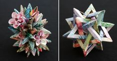 How cool are these sculptures constructed from international bills? Canadian artist Kristi Malakoff skillfully folds, cuts, and pastes paper money from all over the world to create three-dimensional polygons. Money Origami, Origami Paper, Paper Art, Paper Crafts, Diy Crafts, Oragami, Paper Folding, Canadian Artists, Sculpture Art
