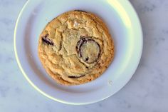 A crisp and caramelized chocolate chip cookie (sprinkled with coarse salt.)