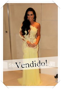 Sexy See Through Lace Mermaid Yellow Evening Dresses One Sleeve Prom Dresses 2014 Vestidos De Fiesta