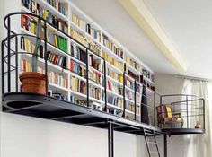 44 Smart Bookshelves Design Ideas You Need To Know. If you have a need for bookshelves in your office and a bit of a Do-it-Yourself prowess, there is no reason why you cannot build your own bookshelve. Library Bookshelves, Bookshelf Design, Bookshelf Ideas, Black Bookshelf, Ladder Bookcase, Future Library, Dream Library, Home Library Design, House Design