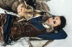 Beautiful Woman with her Beautiful Wolf.