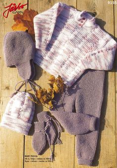 9155. Tröja, byxor, mössor och vantar till baby Knitting For Kids, Baby Knitting Patterns, Baby Barn, Inspiration For Kids, Plaid Scarf, Tweed, Children, Clothes, Babies