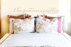 """Add this verse to your love language.  Everybody likes to be thought of as """"the one"""" who is the object of romantic desire.  This wall decal sends that message through romantic scripture from the Song of Solomon.  Um, don't forget to get some sleep.  Nice and affordable at just $22.00."""
