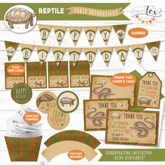 *INSTANT DOWNLOAD - PDF* This reptile party decorations set has everything you need to throw a sssssssuper reptile celebration! This set coordinates with the reptile party invitation seen here, sold separately: https://www.etsy.com/ca/listing/184438884 or