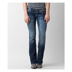 Rock Revival Boris Easy Boot Stretch Jean ($169) ❤ liked on Polyvore featuring jeans, blue, stretch jeans, blue jeans, stretch blue jeans, faded jeans and mid rise bootcut jeans