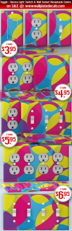 DIY Do It Yourself Home Decor - Easy to apply wall plate wraps | Bright Bubbles Pink, blue, yellow and violet bubbles wallplate skin stickers for single, double, triple and quadruple Toggle and Decora Light Switches, Wall Socket Duplex Receptacles, and blank decals without inside cuts for special outlets | On SALE now only $3.95 - $6.95