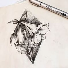 Copihue drawing, national flower of Chile by hamstter, dotwork