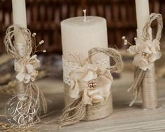 Personalized Wedding Candle Unity Ceremony Pillar Candle Rustic Unity Candle Set Rustic Wedding Lace and Pearl Burlap Flower Ivory Wedding Unity Candles, Rustic Candles, Wedding Ceremony Flowers, Rustic Wedding Centerpieces, Diy Candles, Pillar Candles, Unity Ceremony, Wedding Colors, Wedding Decorations