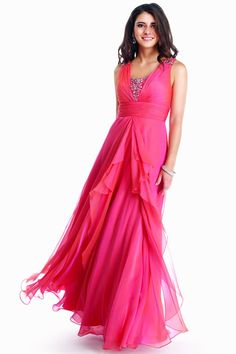 Fully Beaded Center Panel Cinched Empire Waist Layered Long Skirt Dress