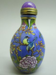 Hand Painted Peking Glass Flower & Bird Pattern Snuff Bottle - $69.66 - Cavalierstore