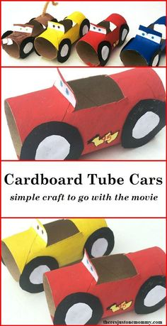 Does your child love the Disney Cars movies? These simple cardboard tube cars are the perfect craft. Lightning McQueen craft,Disney Cars craft,Cars 3 craft