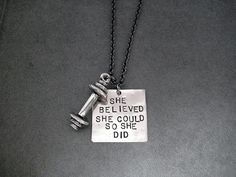 SHE BELIEVED She Could So She Did BARBELL Necklace by TheRunHome