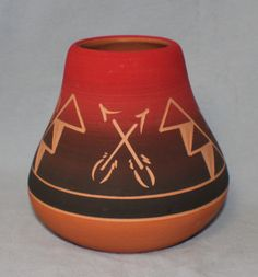 Signed Sunset Navajo Pottery Vase Tepee Arrow Etched Design Glazed Clay by ChimoTreasures on Etsy