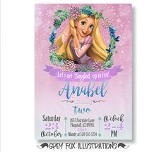 Tangled Invitation Tangled Birthday Party Invitation Rapunzel